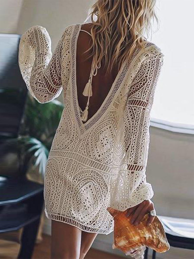 V Neck Elegant Long Sleeve Lace Dress