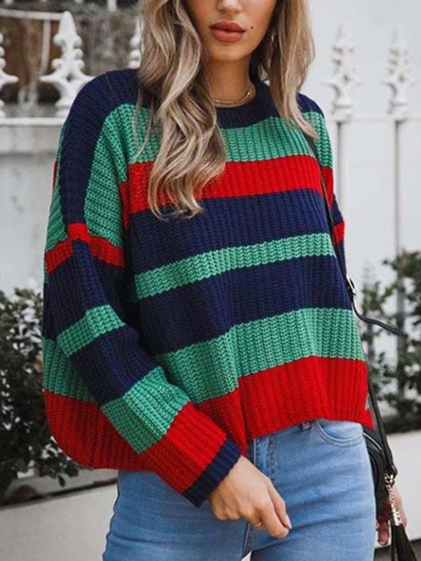 Crew Neck Multicolor Striped Knitted Sweater