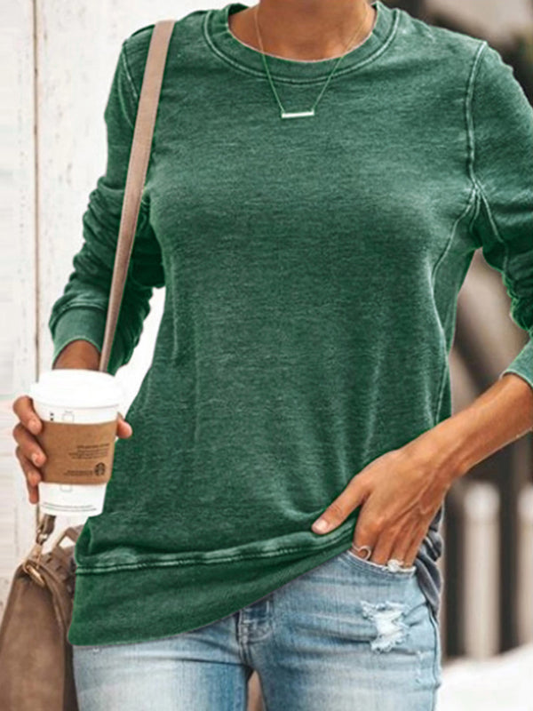 Autumn Round neck Long sleeve Cotton blend casual tops