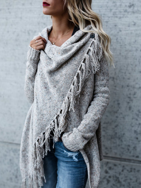Fringed Knit Sweater Jacket