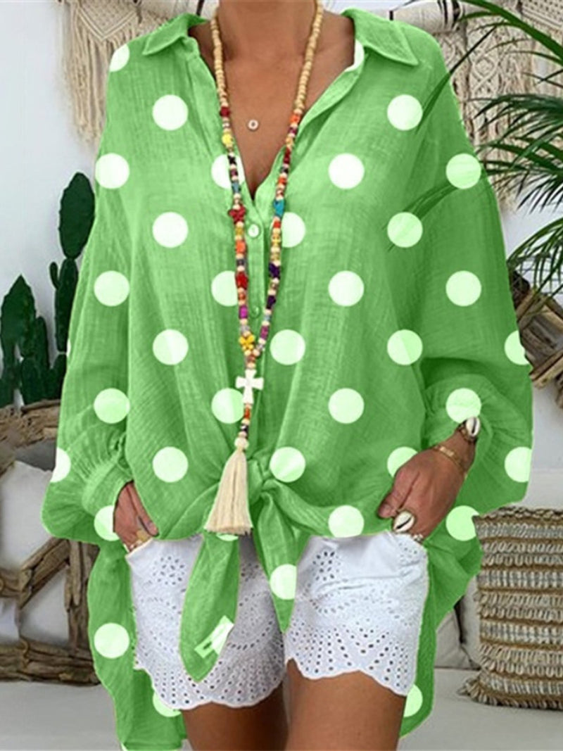 Holiday Shirt Collar Knot Front Buttoned Polka Dots Blouse