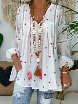 Fashion V-Neck Collar Star Printed Long Sleeved Shir
