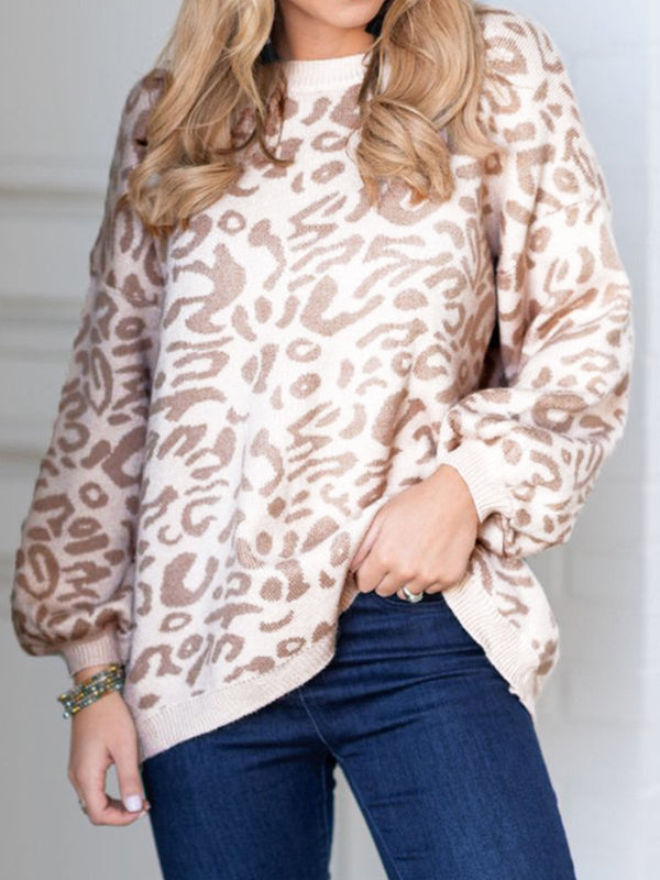 Leopard Sweater Knit Puff Sleeve Casual Top