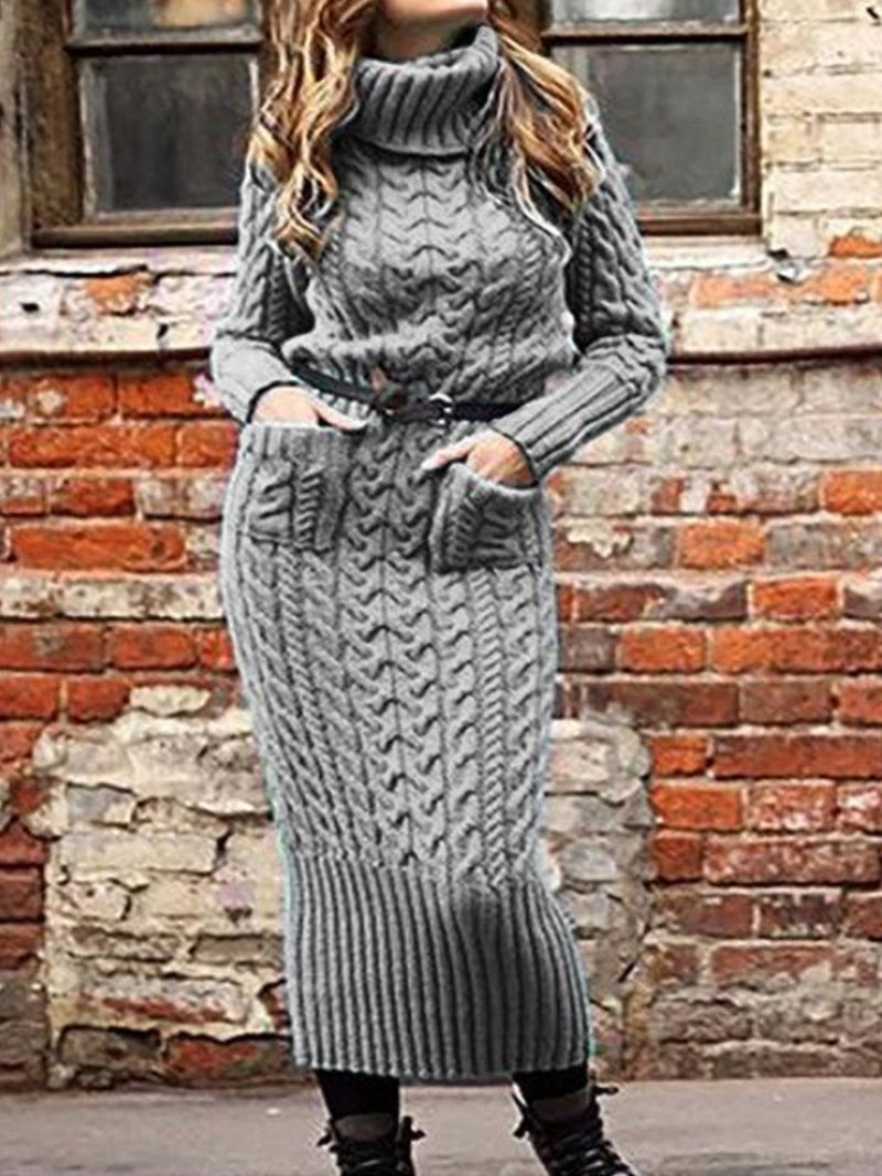 Autumn and winter fashion long-sleeved MAXI DRESSES dress