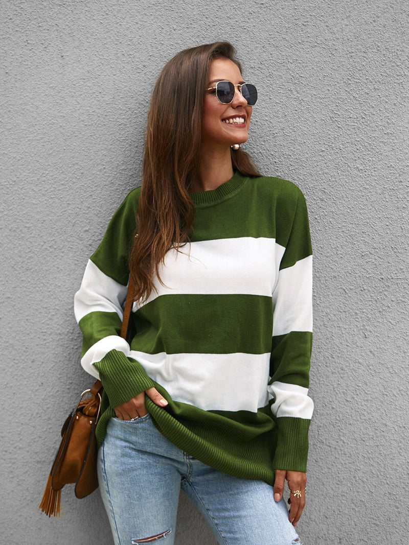 Contrast Stitching Striped Sweater