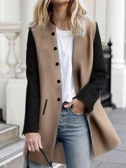 Autumn and winter Contrast Stitching Long Coat