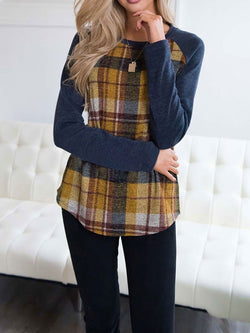 Autumn Long Sleeve Plaids Checks Printed Patchwork T-shirt Tops Tees Blouse for Ladies