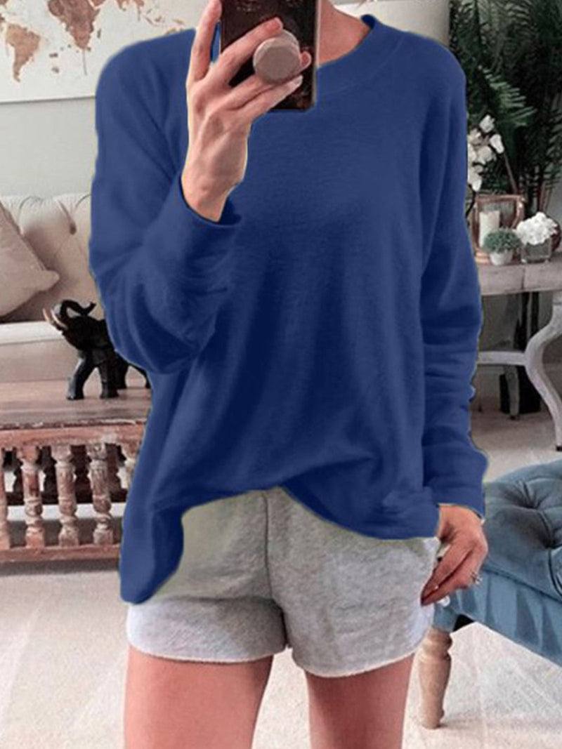 Autumn Loose  Long-Sleeve Round NeckSolid Color T-Shirt