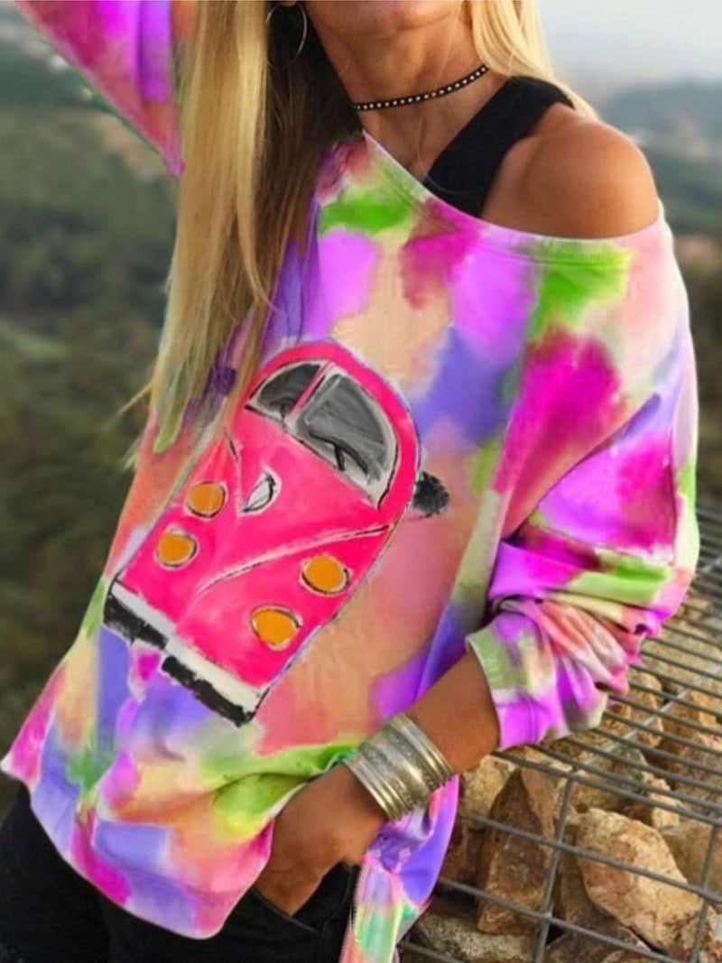 Woman Tie-Dyed Car Print Sweatshirt