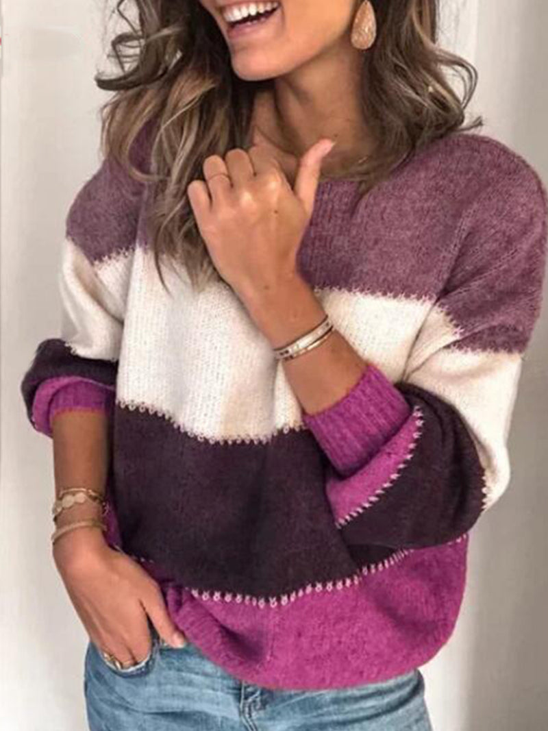 Long Sleeve Striped Knit Pullover