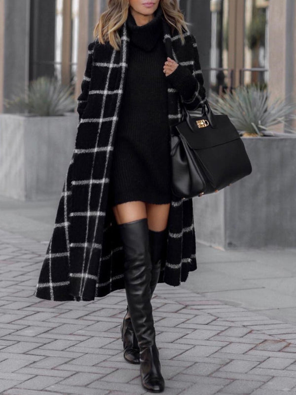 Autumn And Winter Fashion Grid Long Sleeve Overcoat