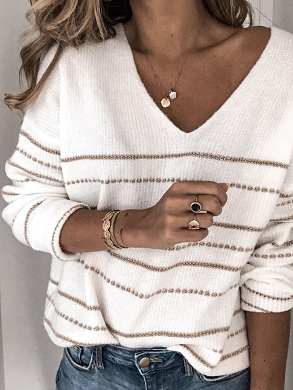Casual Striped V-Neck Sweater Top