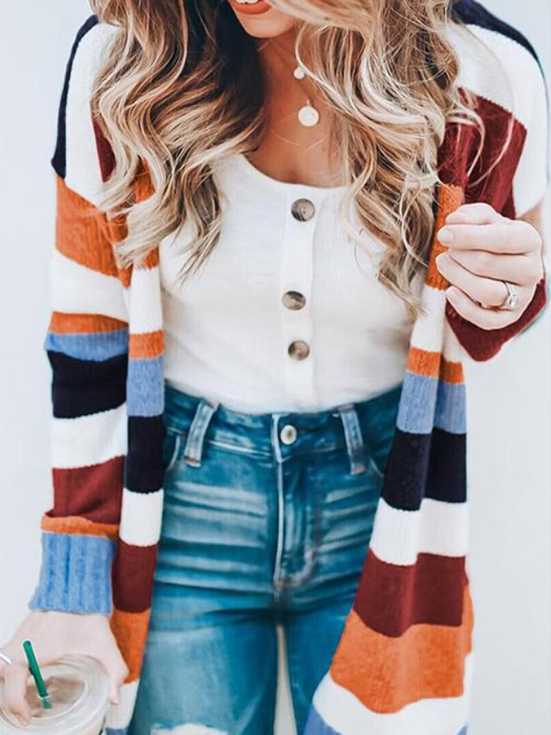 Fashion Striped Print Long Sleeve Open Front Longline Cardigan