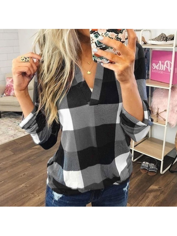 V Neck Plaid Tunic Casual Tops