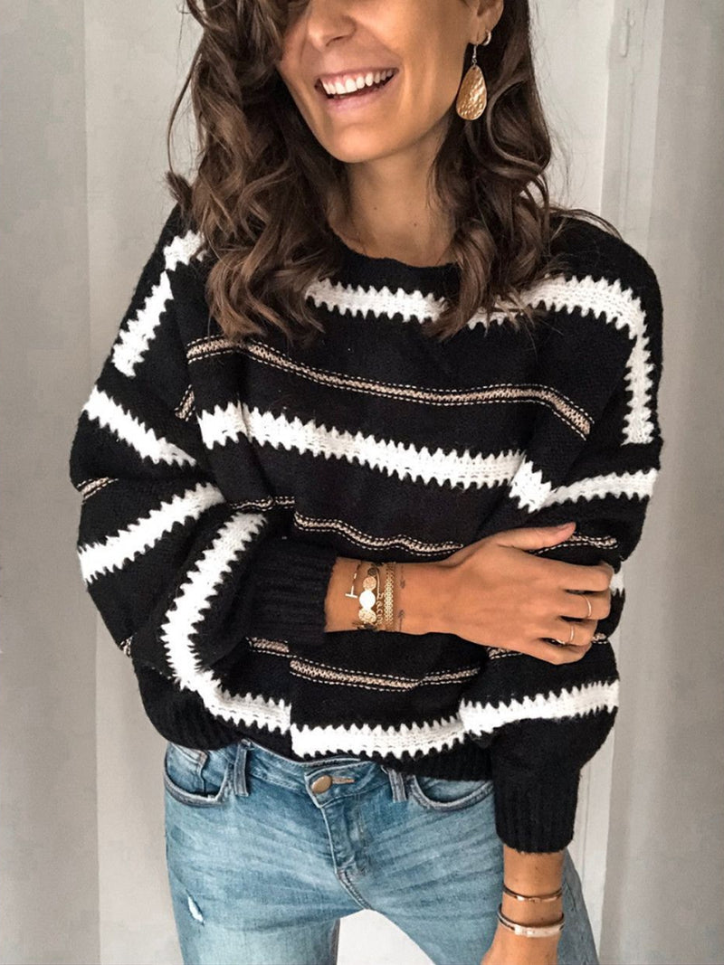 Autumn and winter Fashion Loose Striped Crew Neck Sweater