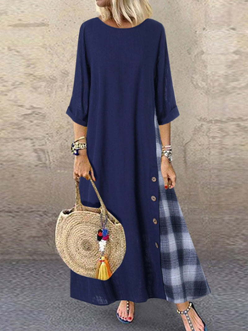 Summer Casual Patchwork Button High Low Hem Plus Size Dress