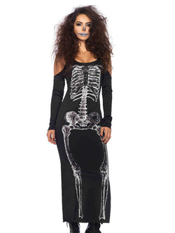 Halloween Bone Print Slim Long Sleeve Dress
