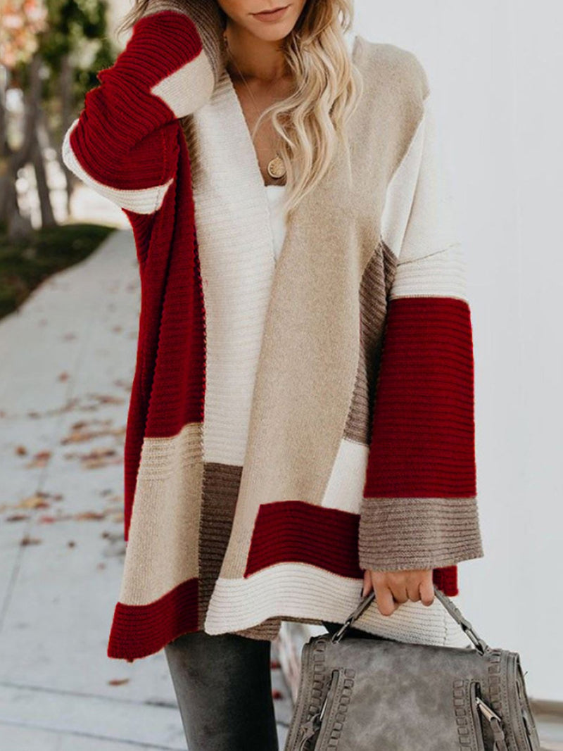 Autumn And Winter Loose Geometric Colorblock Long Sweater Cardigan