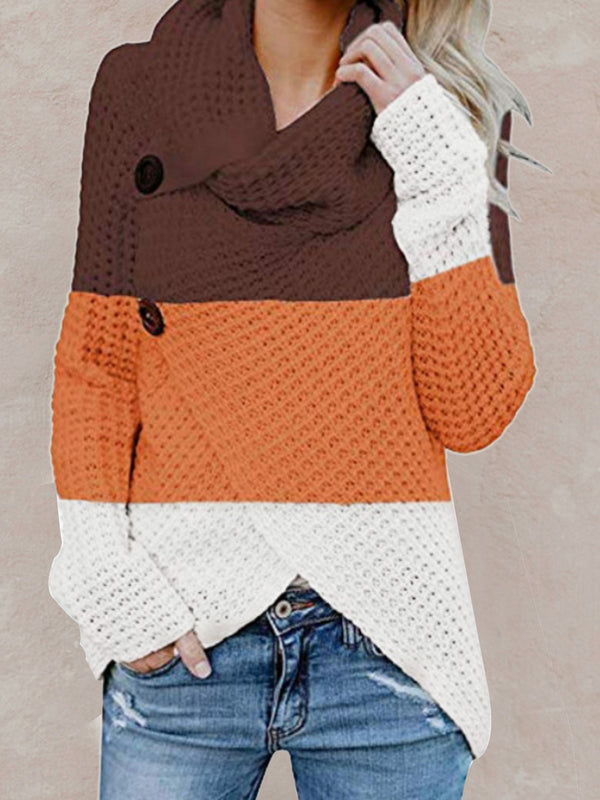 Autumn and winter long sleeve irregular color matching turtleneck sweater
