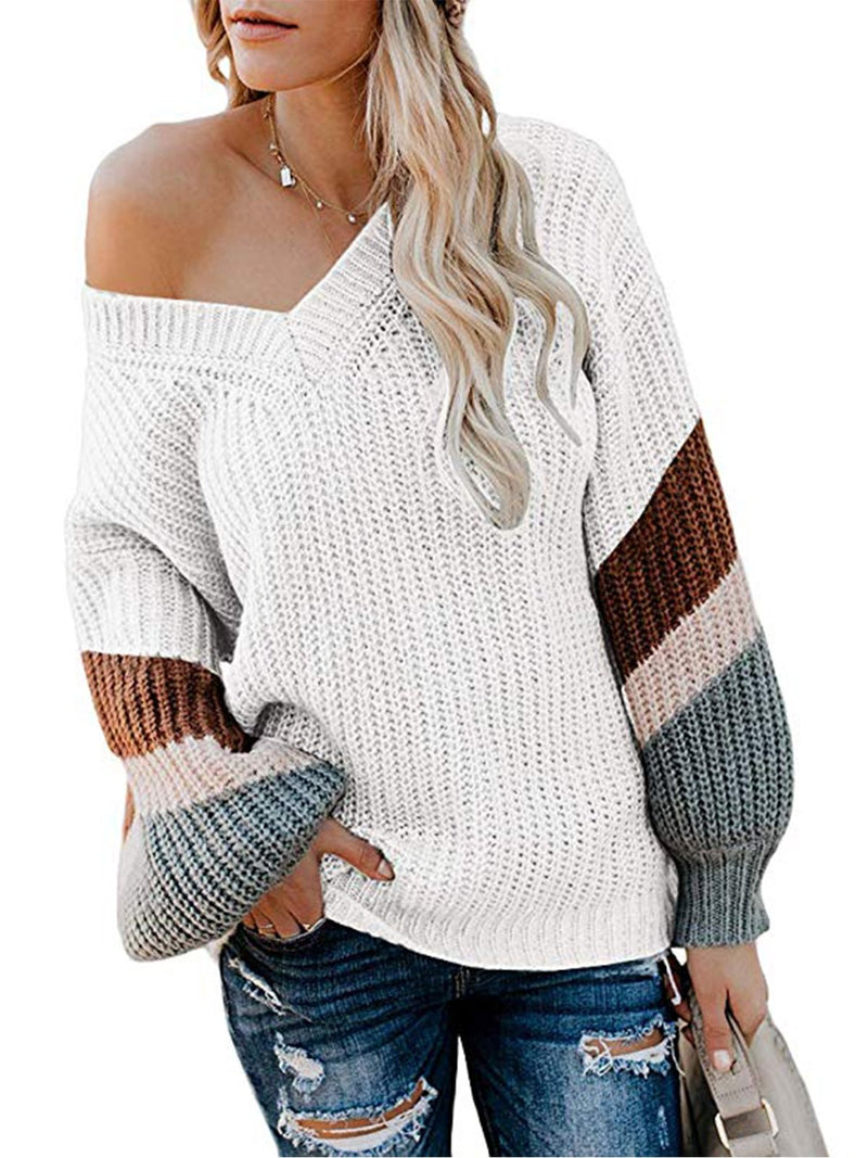 V-Neck Contrast Color Puff Sleeve Sweater