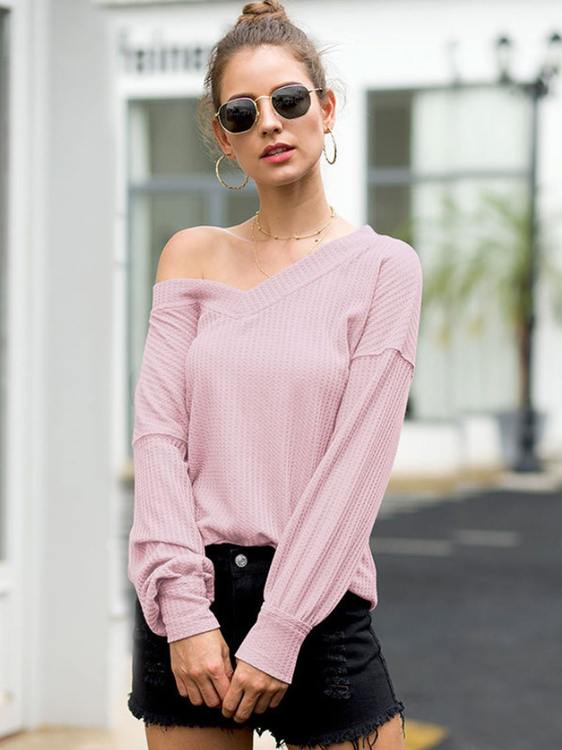 Solid Color V-Neck Lantern Sleeve Top