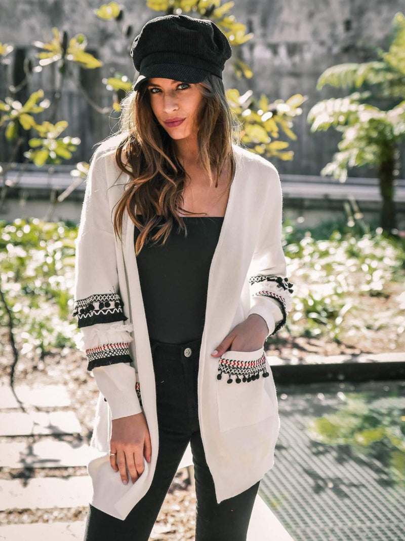 Large Size Autumn And Winter Women's Long-Sleeved Patchwork Tassel Cardigan Loose Knit Coat Top