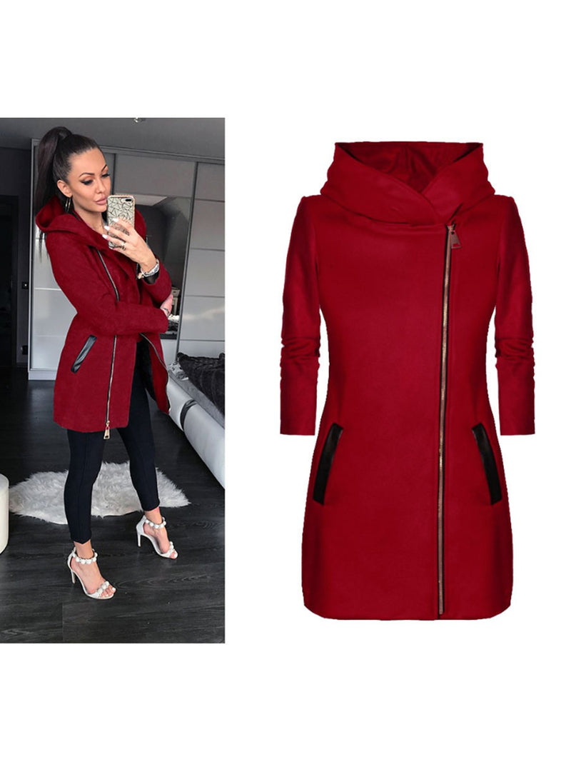 Fashion Women Hooded Turtleneck Plus Size Pockets Zipper Jacket & Coats