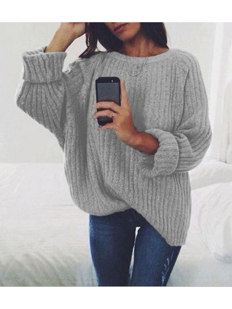 Pure Color Long Sleeves Loose Sweater