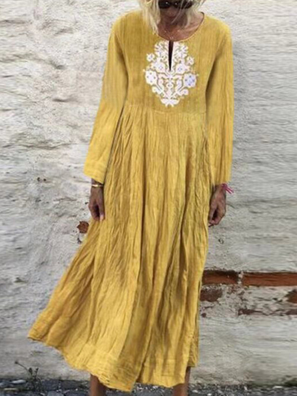Autumn Tribal Dress V-Neck Long Sleeve Maxi Dresses