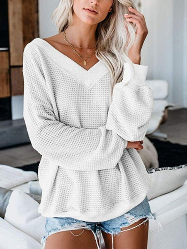 Autumn Casual Waffle Loose Plain Blouse