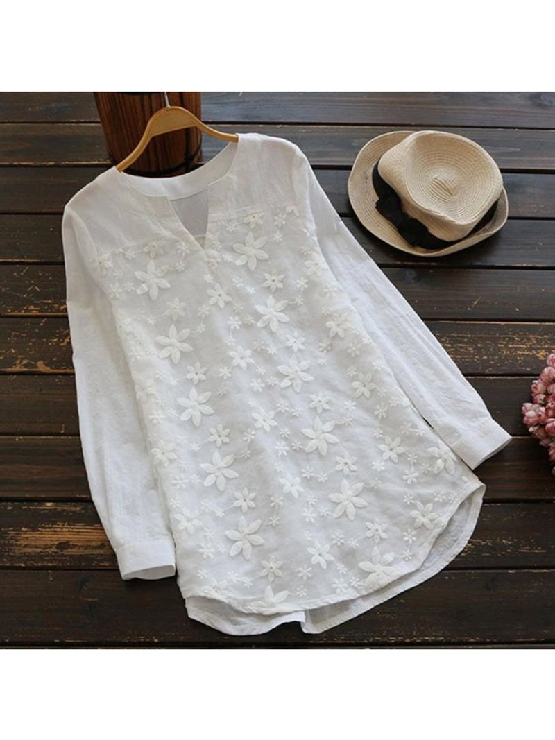 Lace Embroidered Ladies Long Sleeve Loose Shirts