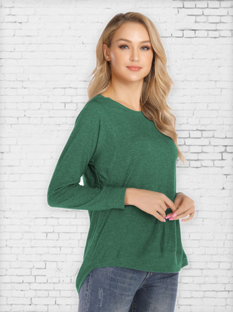 Solid Color Long Sleeve Splicing Top