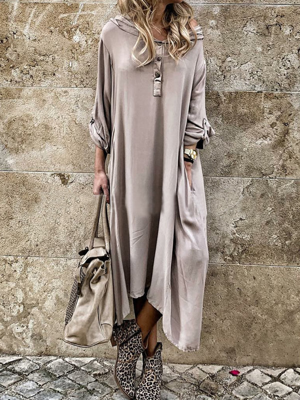 Hoodie Dresses Boho Solid Long Sleeve Dresses