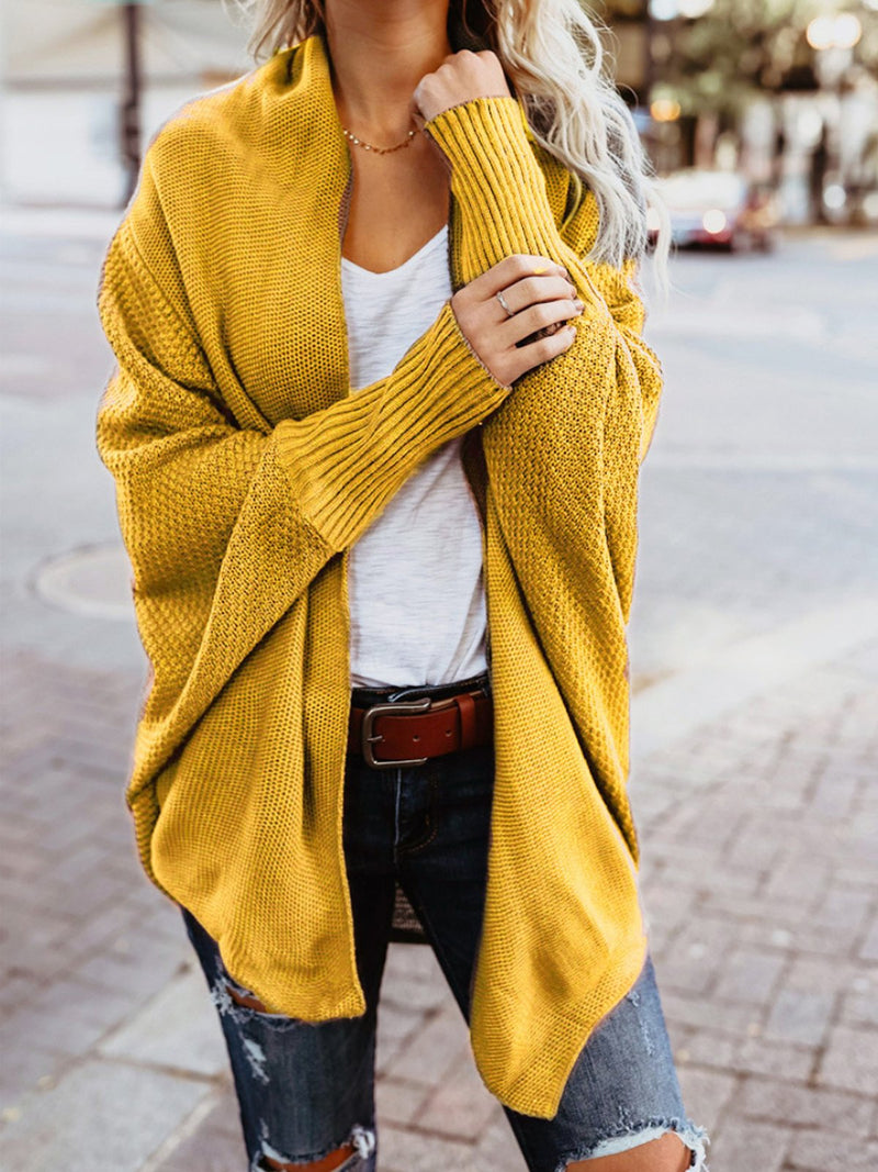 Winter Solid Color Batwing Sleeve Coat Sweater Cardigan Outwear