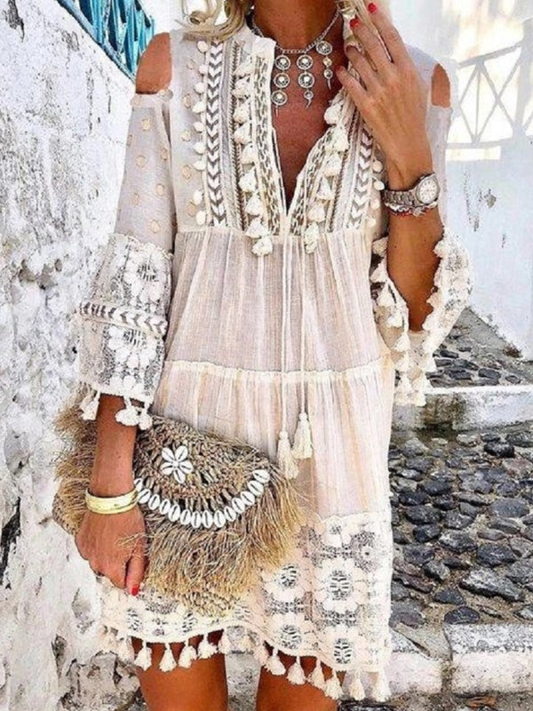 V Neck Bracelet Sleeve Pure Color Lace Dress