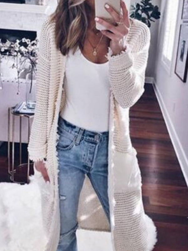 Solid color Long Sleeve Pocket Cardigans Coat