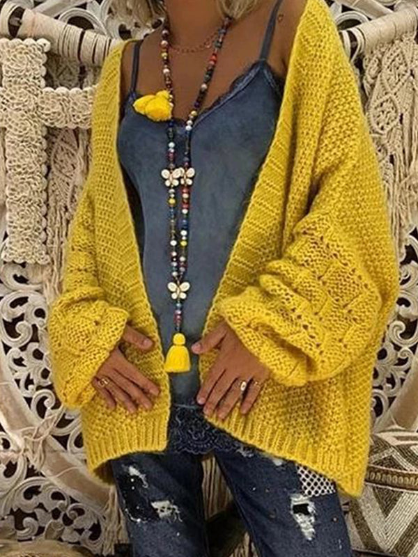 Autumn Loose Hollow-Out Knitting Cardigan Sweater