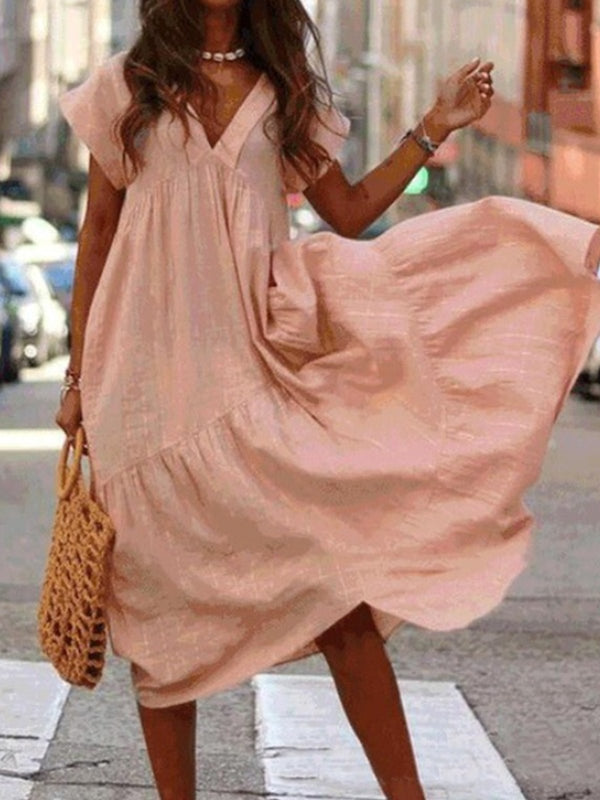 V-Neck Loose Cotton And Linen Casual Dress