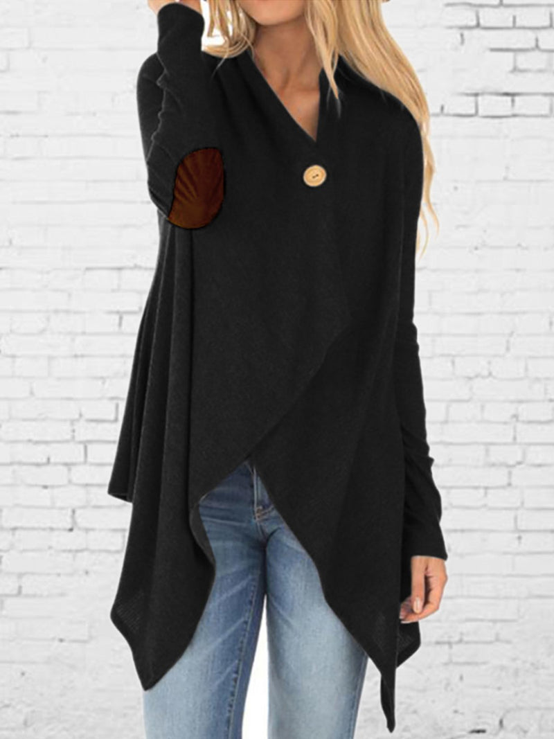 Long Sleeved Leather Irregular Button Coat