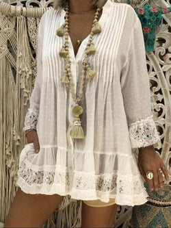 Women V-Neck Lace Loose Large Size Sexy Beach Blouse