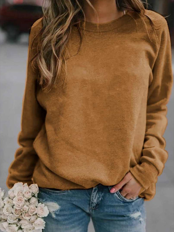 Autumn loose round neck solid color blouse