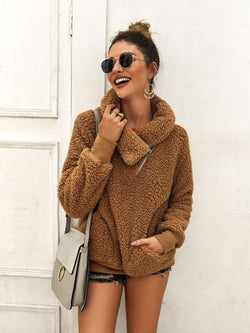 Solid Color High Collar Casual Warm Sweater Coats