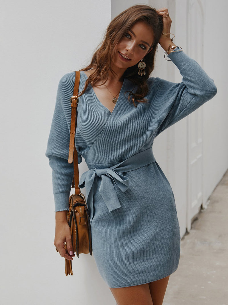Long Sleeve Bandage Wrap Dress Sexy Sweater Dress