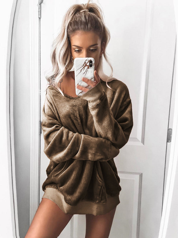 Autumn Velvet Long Sleeved Pure Color Hoodie