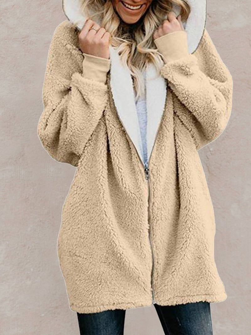 Sweet Solid Hoodie Cashmere Coats