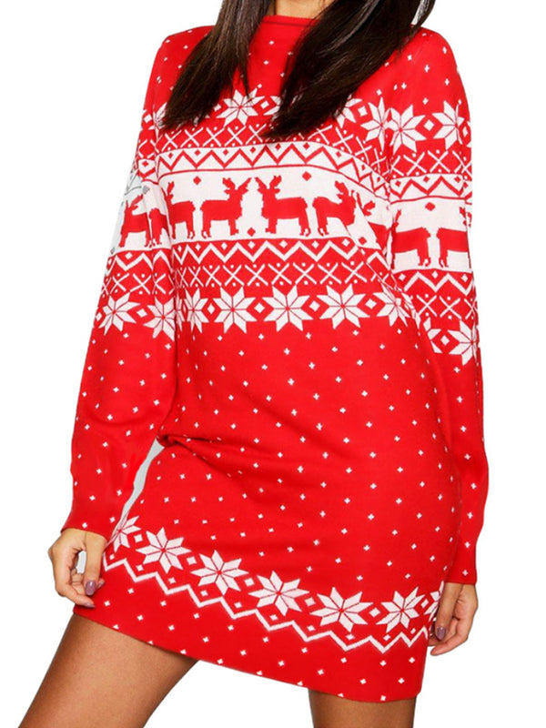 Christmas Print Long Sleeve Dress