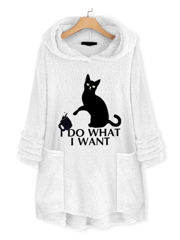 Casual Cat Printed Pocket Long Sleeve Hooded Coats