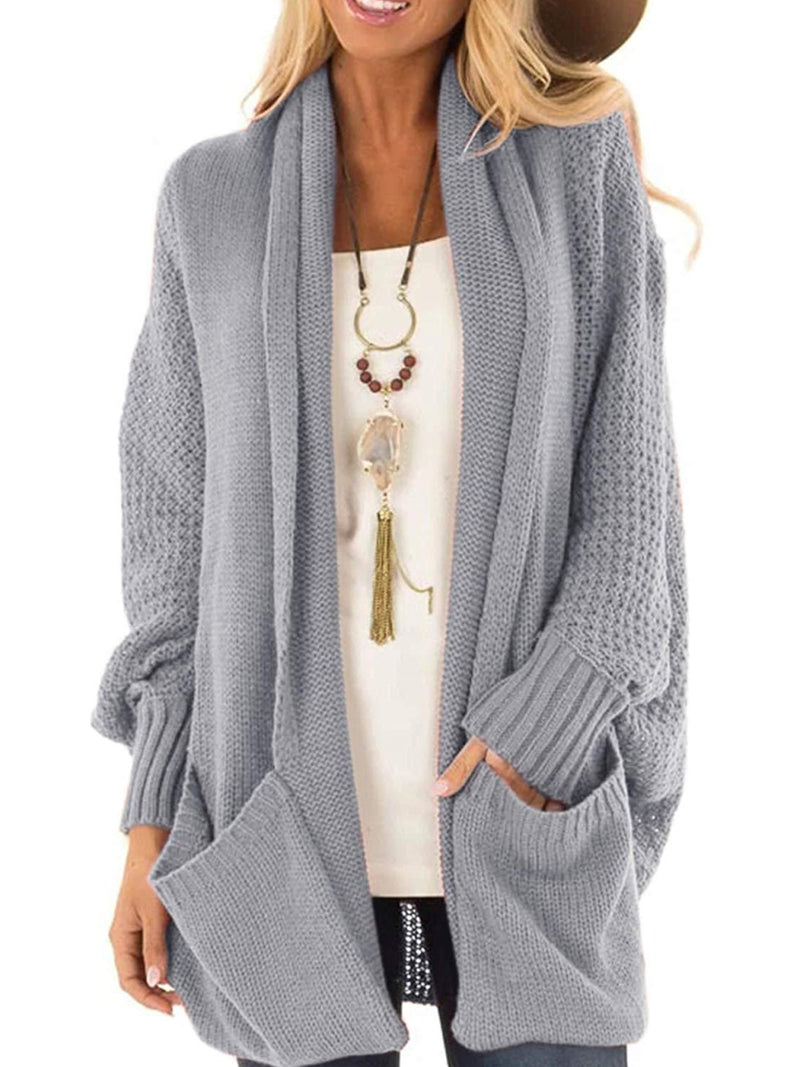 Solid color casual bat sleeve knit cardigan sweater coat