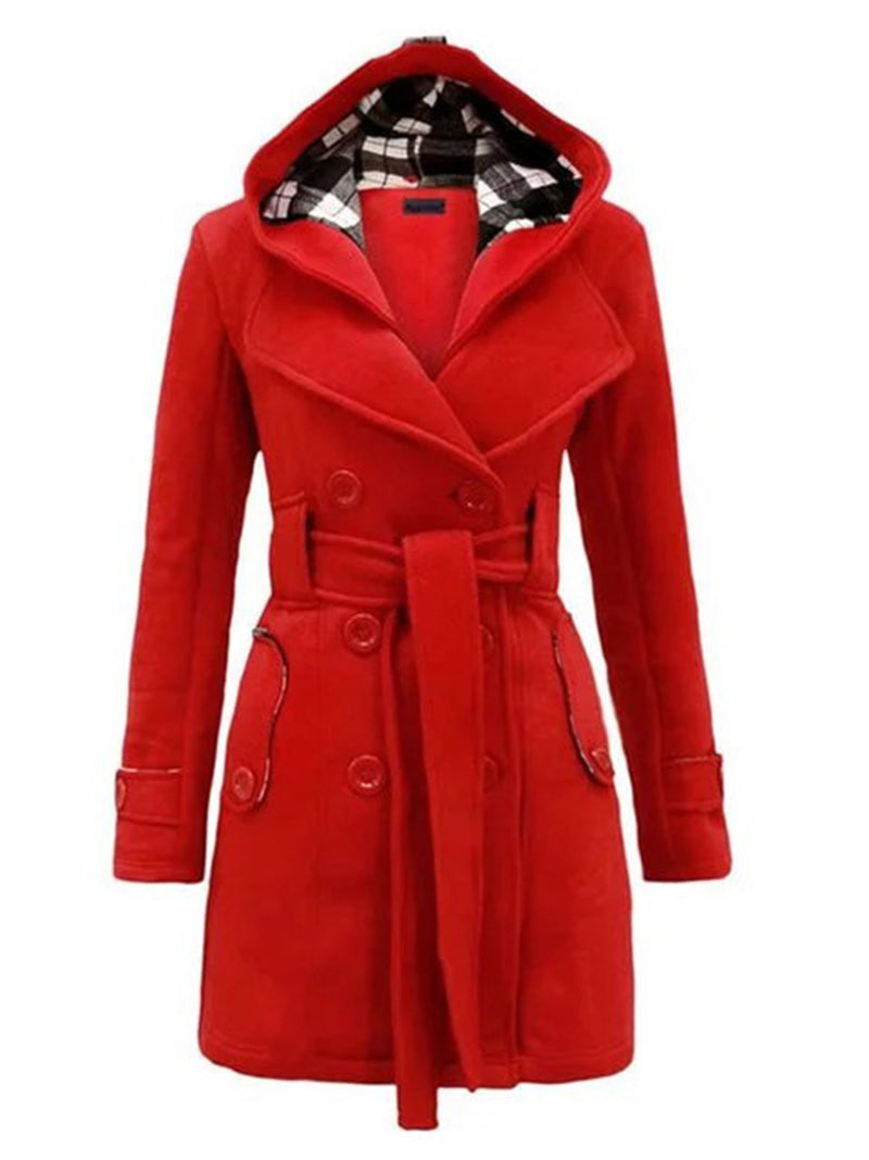 Woman Double Breasted Slim Hoodie Solid Casual Long Pea Coat with Belt
