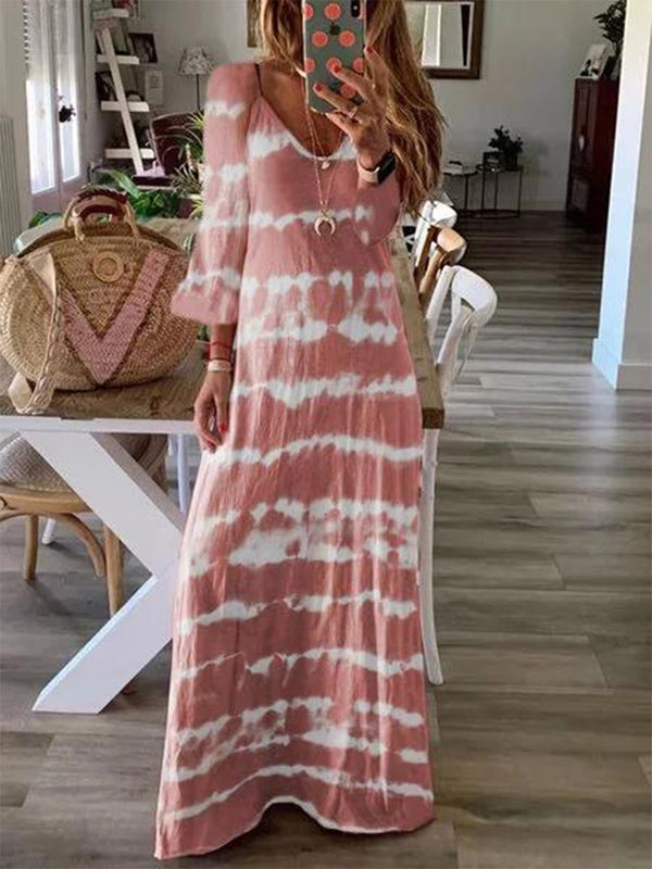 Loose Printed V-Neck Long Sleeve Dress